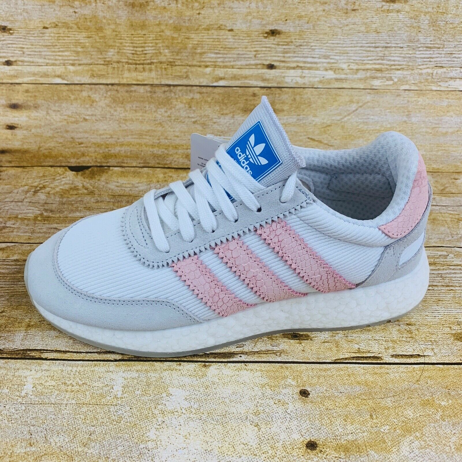NEW WOMEN'S ADIDAS ORIGINALS I-5923 INIKI BOOST SHOES [D97348]  WHITE  ICEY PINK
