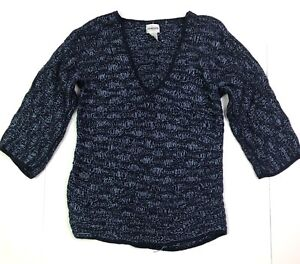 Chicos v neck chunky cable knit wavy sweater blue size 0 US xs 4 oversized