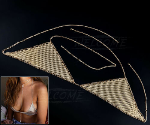 Gold//Silver Gypsy Shiny Rhinestone Bra Chest Body Chain Harness Beach Necklace