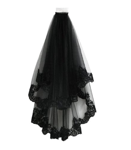 Women Black Bridal Wedding Veil with Comb Bride Gothic Lolita Party Vintage New