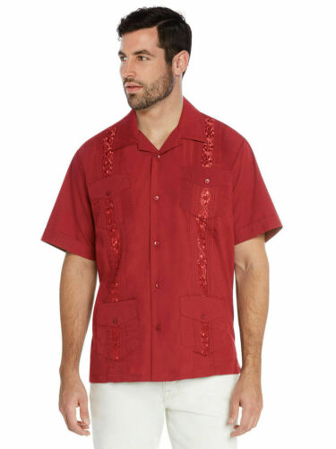 vkwear Men/'s Guayabera Cuban Beach Wedding Casual Short Sleeve Dress Shirt