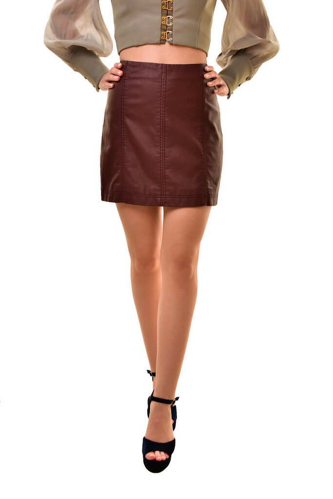 Free People Womens A Line Modern Femme Vegan Leather Mini Skirt RRP  BCF811