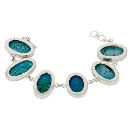 Handmade 925 Sterling Fine Silver Turquoise Gemstone Chain Bracelet Jewelry