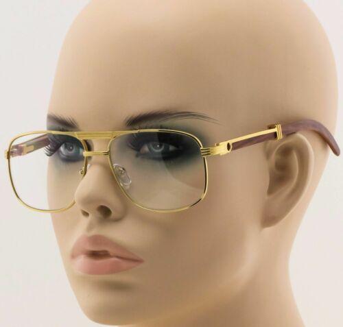 For Men/'s Gold Metal Art Nouveau Wood Effect Frames Eye Glasses Clear Lens New