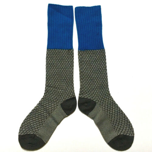 NWT PANTHERELLA Socks Stockings Merino Wool Grey Turquoise Blue Knee Cuff Crew