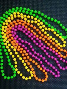 Set of 4 x Neon Bead Necklaces (80's festival - retro)