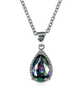 Genuine-Fire-Rainbow-Mystic-Topaz-Pendant-Necklace-Silver