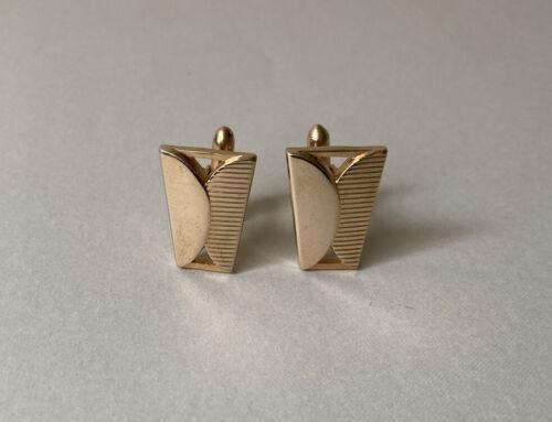 Midcentury modern cufflink gold tone geo metric triangle sheild signed mad men style