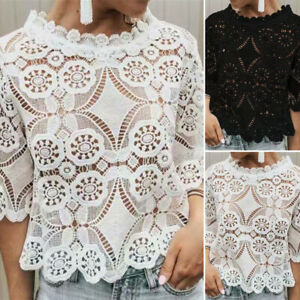 Women-Casual-Lace-Hollow-T-Shirt-Crew-Neck-Short-Sleeve-Summer-Blouse-Top-Tee