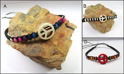Armband Armschmuck Peace-armband Knochen Ethno Hippie Holzperle Makramee Unisex Belebende Durchblutung Und Schmerzen Stoppen