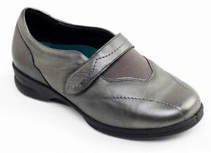 Wide Strap Padders Ladies pelle Fitting Metal Eee Womens in Gun Shoes Kirsten xfX8fFq