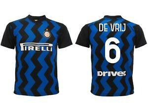 Dettagli su Maglia De Vrij Inter 2021 Ufficiale Divisa Home 2020 Stefan 6 nerazzurra