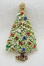 VTG ART Signed Fruit Salad Rhinestone Holiday Christmas XMAS Tree Brooch Pin
