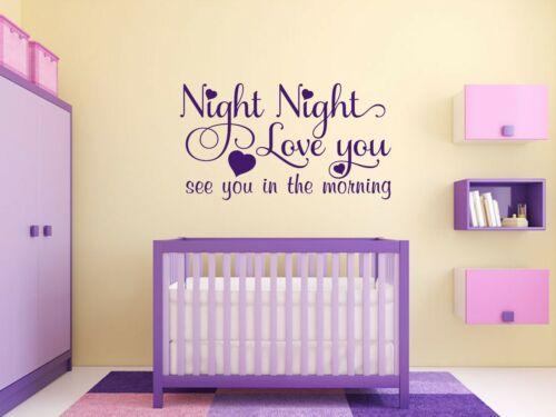 """Mur Devis nuit /""""NUIT/"""" Kids Home Chambre Mur Art Autocollant Citation Autocollant Vinyle"""