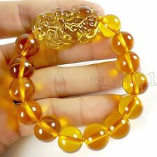 Feng Shui Citrine Yellow Crystal Pi Yao Pi Xiu Xie Bracelet for Wealth 14mm