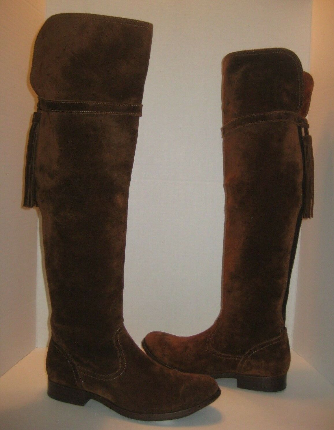 FRYE MOLLY TASSEL OVER THE KNEE WOOD BROWN SUEDE BOOTS SIZE 8 548+