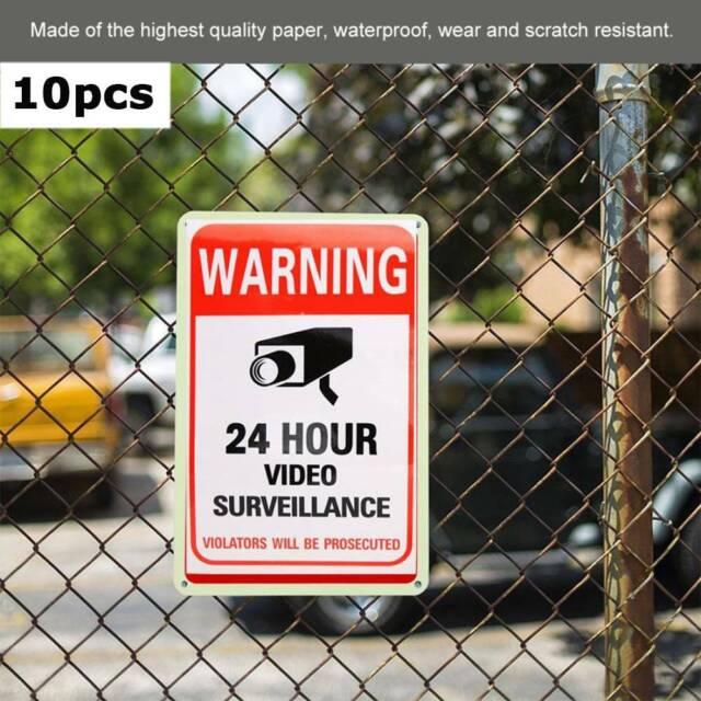 10pcs 24 Hour Video Monitor Surveillance Camera PVC Decal Warning Sign Sticker o