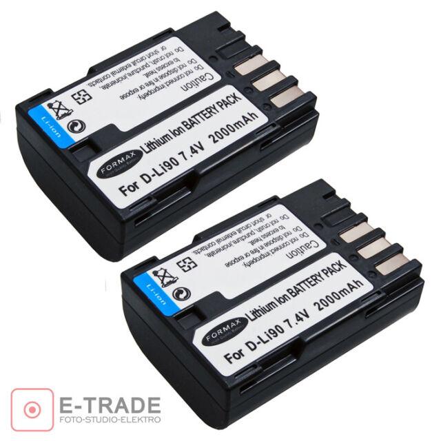 2x D-LI90 DLI90 Battery For PENTAX K3 K7 K-5 II K5 2S K01 Camera D-BC90