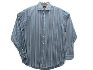 Tailorbyrd Mens Button Down Long Sleeve Shirt Sz XLarge Blue White Green Striped