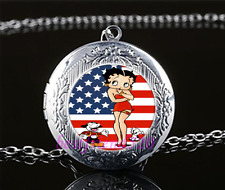 Betty Boop Photo Cabochon Glass Tibet Silver Locket Pendant Necklace#A25
