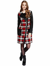 NEW M & S Limited Edition Red Tartan Long Coat Jacket 8 lifesize