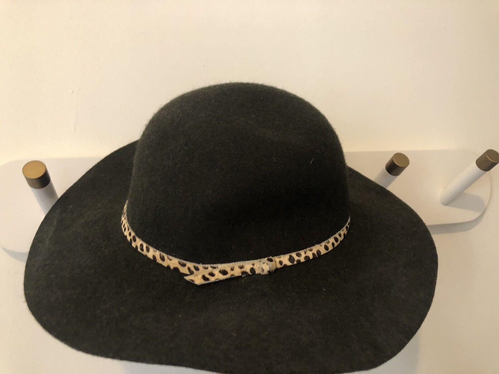 Anthropologie Black Wool Floppy Hat With Leopard Ribbon