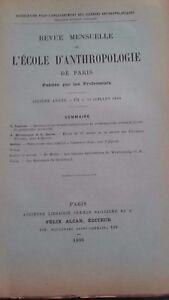 Rivista SCUOLA Antropologia 6 Eme Anni 1896 F.Alcan N° VII ABE