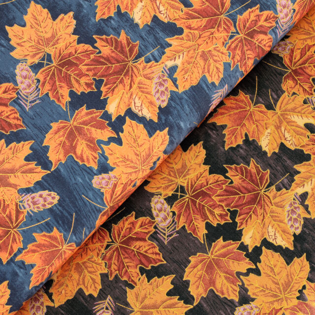 Cotton Fabric per FQ Golden Leaf Retro Tree Leaves Dress Quilting Patchwork VJ18