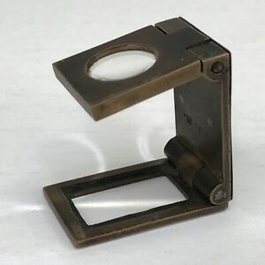 Small-Vintage-Metal-Folding-Pocket-Loupe-Magnifying-Glass-Stamp-Map-Coin