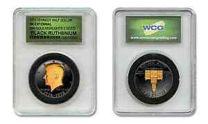 Black-RUTHENIUM-1976-Bicentennial-JFK-Coin-2-Sided-24KT-Gold-in-Slabbed-Holder