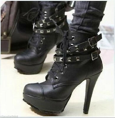Womens Punk Studded High Heels Platform Lace-up Ankle Boots Shoes