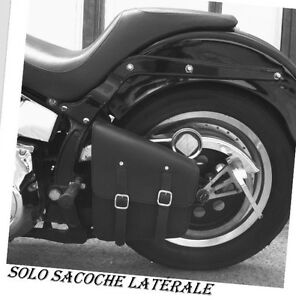 Sacoche Latérale En Cuir Simple Modèle Noir { Harley Softail Wildstar Volusia }