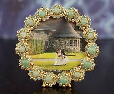 """JAY STRONGWATER Small Round Green Crystal Flower Picture Frame 2.75""""~HOME BLING!"""