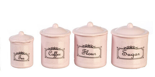 Dollhouse Miniature Four Piece Canister Set in Pink - 1:12 Scale