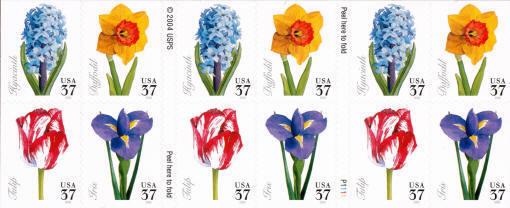 2005 37c Spring Flowers, Booklet of 20 Scott 3900-3903