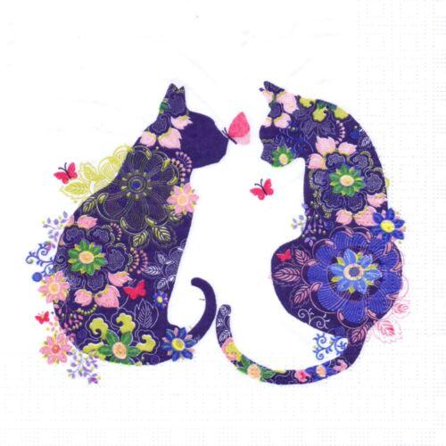 SERVIETTES EN PAPIER CHAT CHATS DESIGN FLEURS PAPER NAPLINS CAT CATS FLOWERS