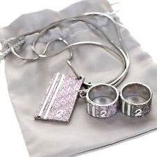 Auth Christian Dior Trotter 3 Set Pile Ring Pendant Necklace Accessory 00B640