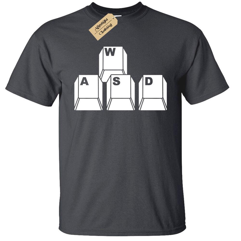 Agressif Enfants Garçons Filles Wasd Clavier Clés T-shirt Drôle Geek Ballot Joueur De Haute Qualité Et Peu CoûTeux
