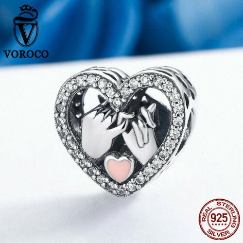 Voroco Promise For Love 925 Sterling Silver Heart Charm Fit Forever Lover Chain