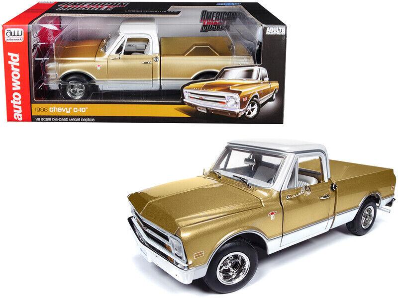 Auto Welt 1 18 American Muscle 1968 Chevrolet C-10 Pickup Metallic Gold AMM1165