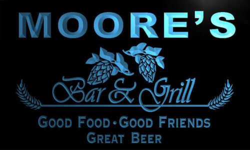 pr1009-b Moore/'s Bar /& Grill Beer Wine Neon Light Sign