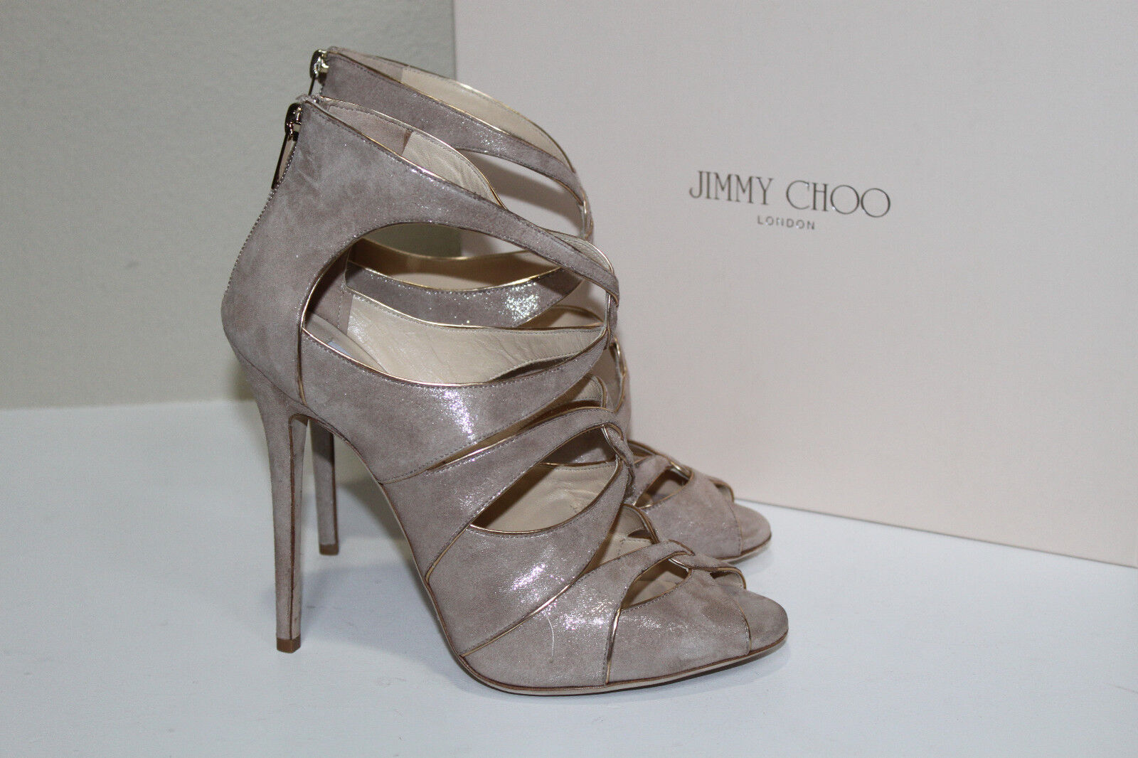New  sz 10   40 Jimmy Choo Legend Sand Beige Shimmer Suede Ankle Sandal shoes