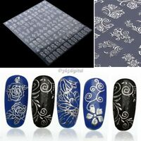 108PCS 3D Silver Decal Stickers Nail Art Tip DIY Decoration stamping Manicure