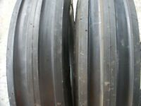 Ford Tractor (2) 13.6x28 8 Ply Tires W/wheels & (2) 650x16 3 Rib W/tubes