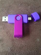 Purple 16GB USB 2.0 and micro usb Flash Pen Drive Memory Stick Rotary Thumb Key