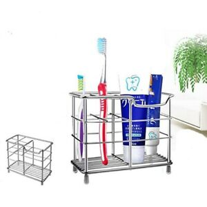 Stainless-Steel-Toothbrush-Holder-Toothpaste-Razor-Stand-Rack-Bathroom-Organizer