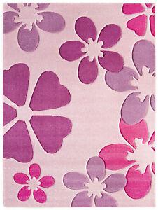 Details Zu Kinderteppich Rosa Blumen Madchen Kinderzimmer Spielteppich Teppich Eckig Rund