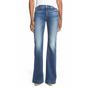 Details about 7 For All Mankind Dojo 27 Tailor less Blue Wide Leg Trouser Flare Women's Jeans