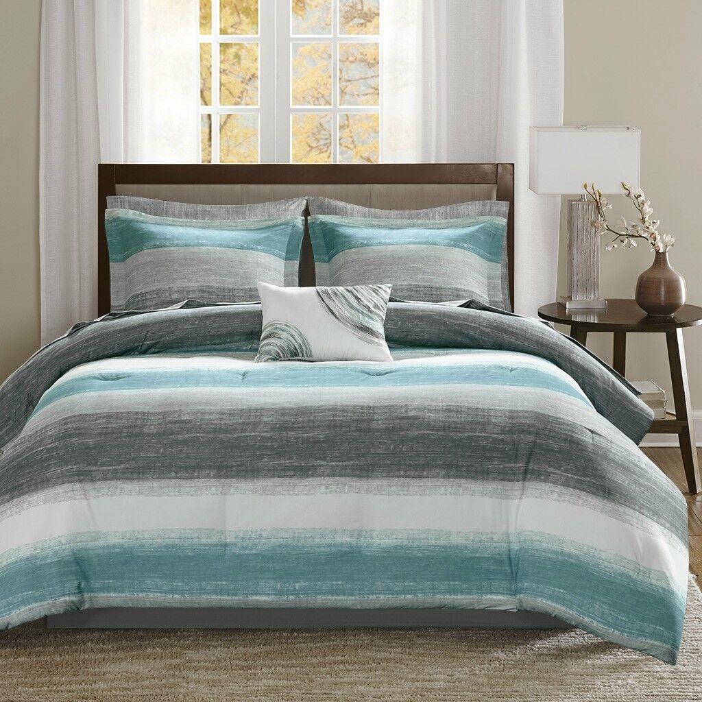 Beautiful Aqua WaterFarbe Stripe 9 pcs Comforter Cotton Sheet Cal King Queen Set