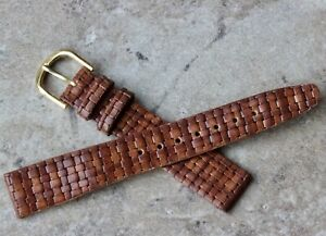 Braided-pattern-unpadded-16mm-Genuine-Leather-vintage-watch-band-1960s-70s-NOS